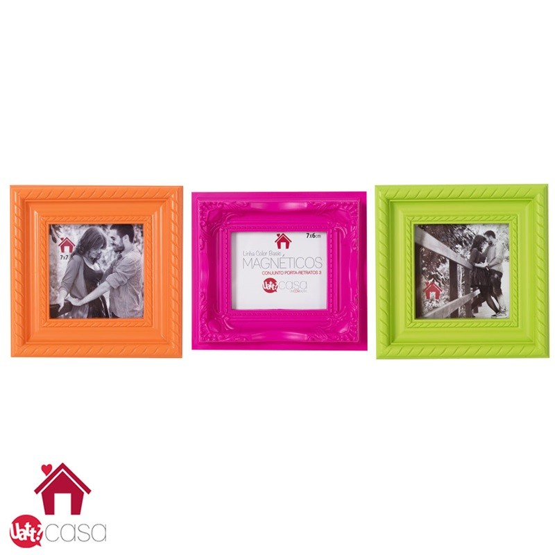 Conjunto Magnético - Laranja, Pink e Verde - Porta Retratos de Parede