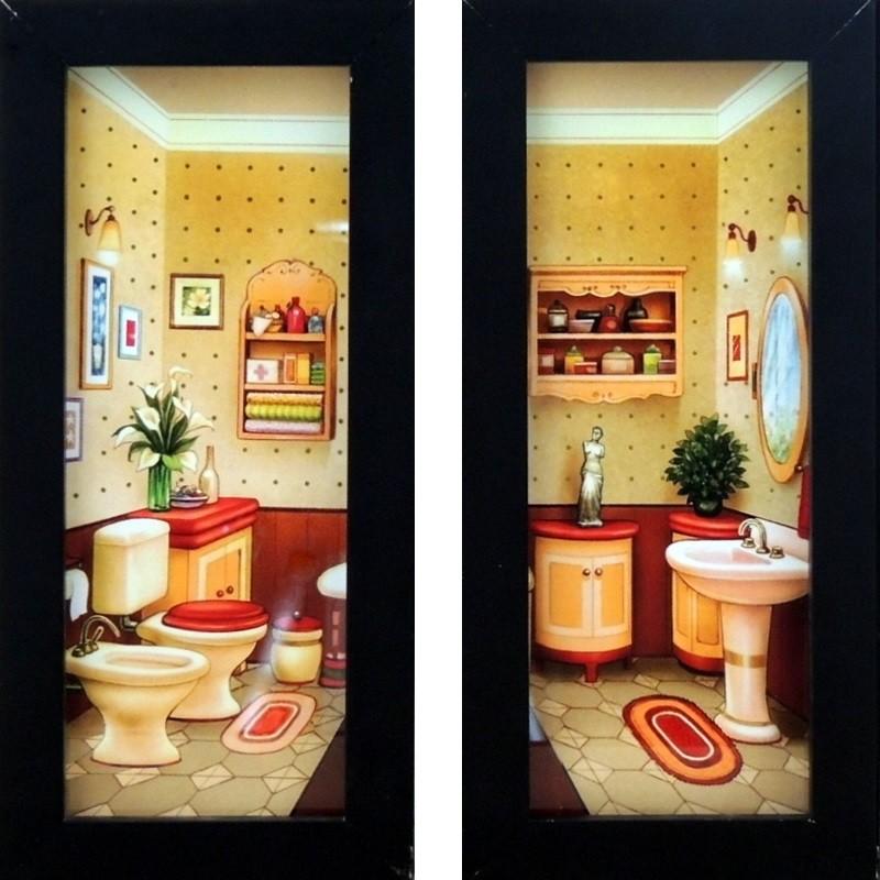 Banheiro Colorido Retrô - Kit com Dois Quadrinhos com Vidro