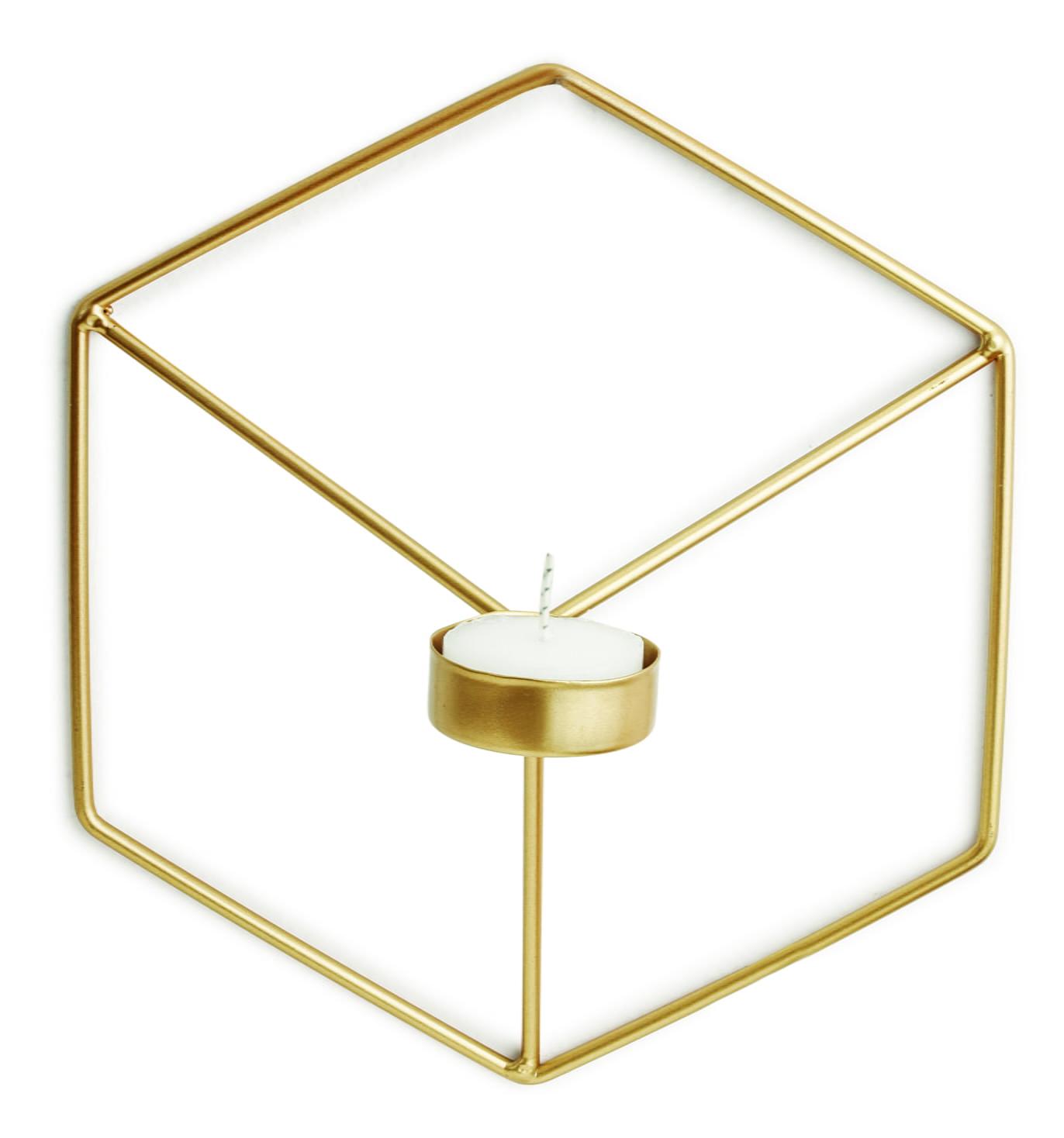 Cubo Dourado - Porta Velas Para Parede