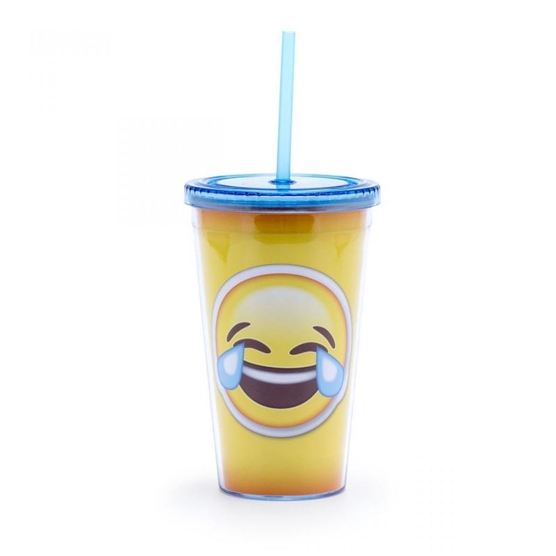 Emoji Chorando de Rir - Copo com Canudo