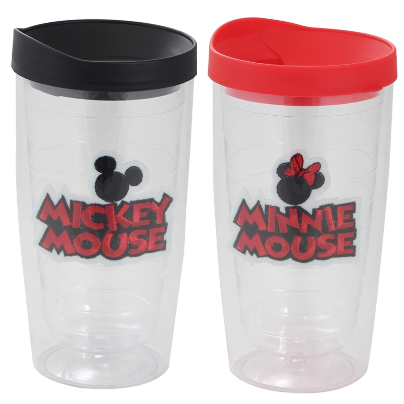 Mickey e Minnie Mouse - Kit 2 Copos com Bordados