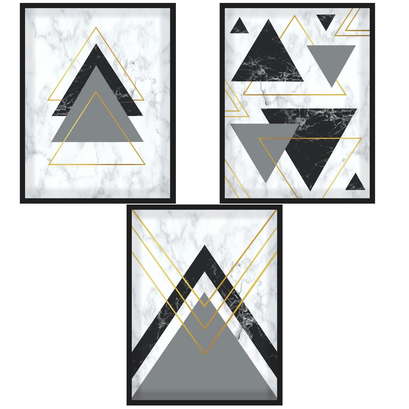 Étnico Preto e Mármore - Conjunto com 3 Quadros com Moldura e Vidro