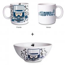 Robô Coffee e Robô Cereal - Kit Caneca + Bowl