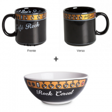 Café Rock e Rock Cereal - Kit Caneca + Bowl