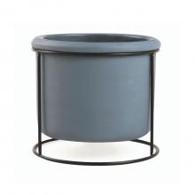 Contraste - Vaso Em Cimento Com Suporte Preto Em Metal Tamanho G