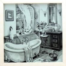 Banheiro Retrô Preto e Branco - Quadrinho com Vidro