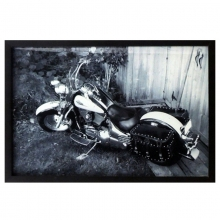 Moto Estradeira - Quadro Retrô com Vidro