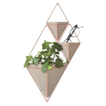 Trigg - Vaso de Parede Grande Concreto/Cobre