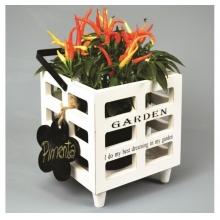 Garden - Cachepot em Madeira Com Etiqueta Lousa