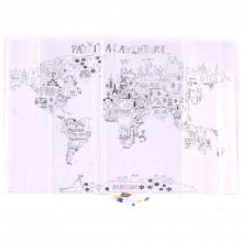 Mapa da Aventura - Tela Adesiva para Colorir com 4 Canetinha