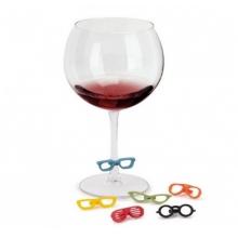 Glasses - Conjunto para Vinho Cores Vivas 7 peças (Rolha + Marcadores de taça)