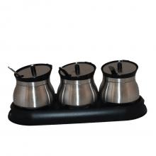 Spice - Conjunto com 3 Porta Temperos + Base