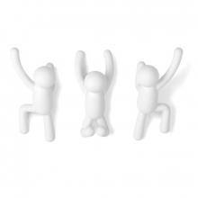 Buddy - Branco - Conjunto com 3 Cabideiros de Parede