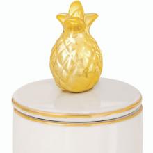 Abacaxi Dourado - Caixinha Porta Jóias Redonda com Tampa
