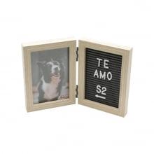 Mensagem - Porta Retrato Duplo de Mesa c/ Letras p/ Colocar