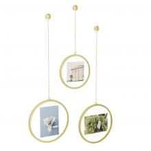 Fotochain Redondo Dourado - Porta retrato de Parede - Conjunto com 3 peças