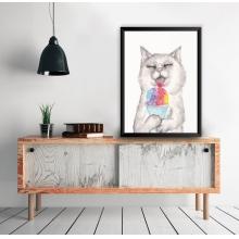 Gato Aquarela - Poster com Moldura