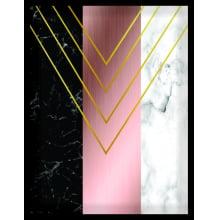 Étnico Rosa e Mármore - Conjunto com 3 Quadros com Moldura e Vidro