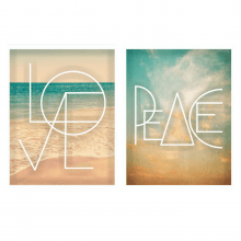 Peace and Love - Conjunto com 2 Quadros com Moldura e Vidro