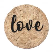 Love - Quadro Redondo De Madeira Com Relevo