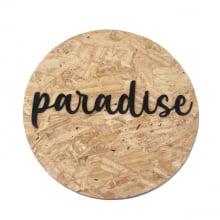 Paradise - Quadro Redondo De Madeira Com Relevo