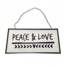 Peace And Love - Placa Decorativa de Vidro