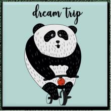 Panda Dream Trip - Quadro em Azulejo