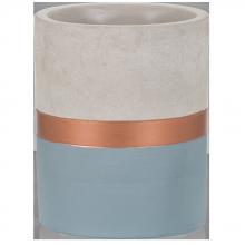 Azul e Cobre - Tamanho P - Vaso em Cimento
