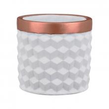 Branco e Cobre - Cachepot em Cimento 3D Tamanho M