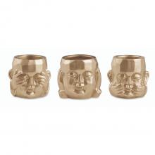 Budas - Kit com 3 Cachepots em Cimento