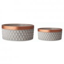 Cimento e Cobre 3D - Kit Cachepots Baixo em Cimento 2 peças (P e G)