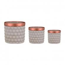 Cimento e Cobre - Kit Cachepots 3D em Cimento P,M,G