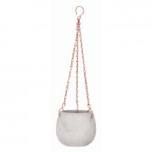 Delicadeza - Vaso Oval Pendente em Cimento e Cobre - Tamanho P