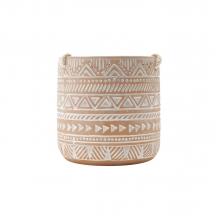 Estampas Étnicas - Cachepot Redondo  Pendente em Cerâmica