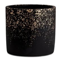 Preto e Dourado - KIt de Cachepots em Cimento 3 peças - P, M e G