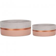 Rosa e Cobre - Kit Cachepot em Cimento 2 peças (P e G)