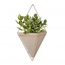 Trigg - Kit com 3 Vasos de Parede Concreto/Cobre (2 Pequenos + 1 Grande)