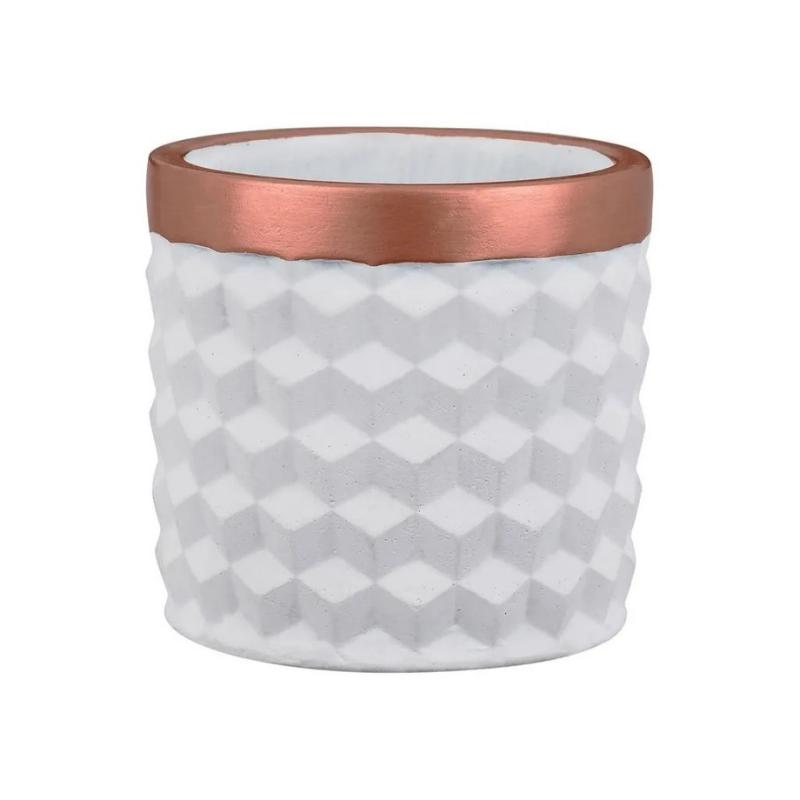 Branco e Cobre - Cachepot em Cimento 3D Tamanho P