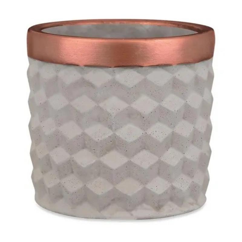 Cimento e Cobre - Cachepot em Cimento 3D Tamanho G