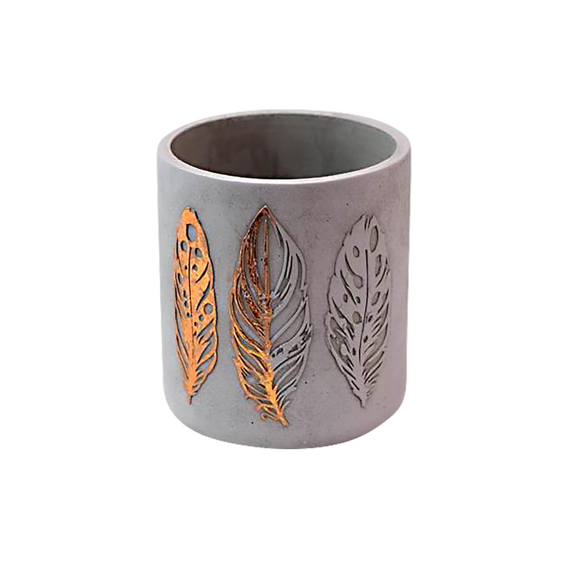 Folhas Douradas - Cachepot Cimento