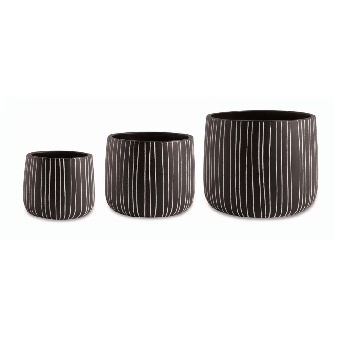 Linhas - Kit Cachepots Altos em Cimento 3 Peças (P+M+G)