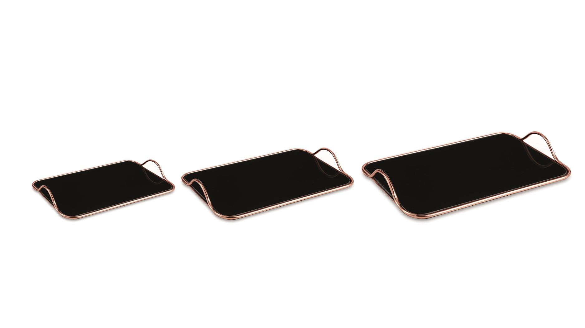 Rose Gold - Kit c/ 3 Bandejas com Espelho Preto